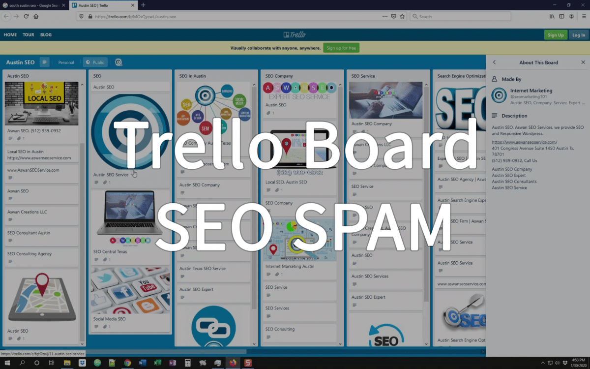 Trello Board SEO SPAM